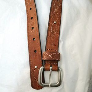 Floral Embossed Embroidered Leather Belt
